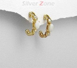 Cercei din argint placat cu aur cu piatra semipretioasa Opal Alb si imitatii de diamante