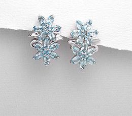 Cercei flori din argint cu topaz bleu