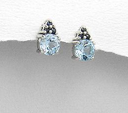 Cercei din argint cu pietre semipretioase topaz bleu si safire