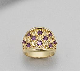 Inel din alama placat cu aur cu pietre semipretioase ametist