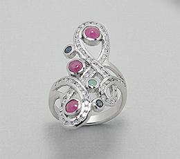 Inel din argint 925 cu rubine, smarald, safire