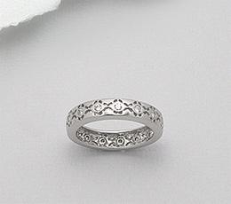 Verighete argint 925 cu aspect de aur alb cu pietricele