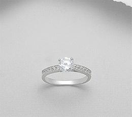 Inel de logodna din argint cu aspect de aur alb