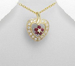 Inimioara din argint placat cu aur cu rubine
