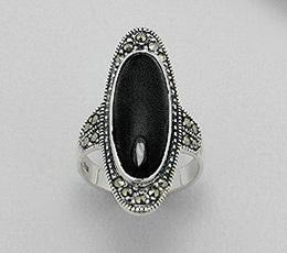 Inel din argint cu marcasite si agat negru