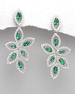 Cercei din argint si cubic zirconia verde