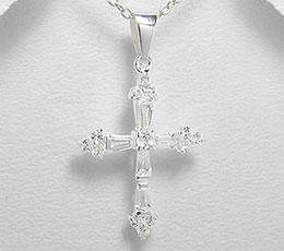Cruciulita din argint cu pietre albe