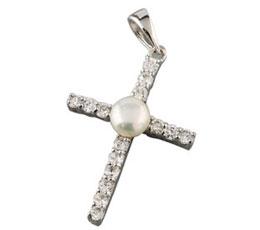 Cruciulita din argint cu perluta de cultura