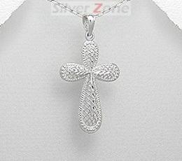 Cruciulita din argint cu aspect de aur alb