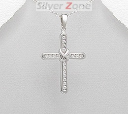Pandantiv cruce din argint cu pietre