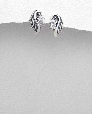 Cercei din argint model aripa cu piatra