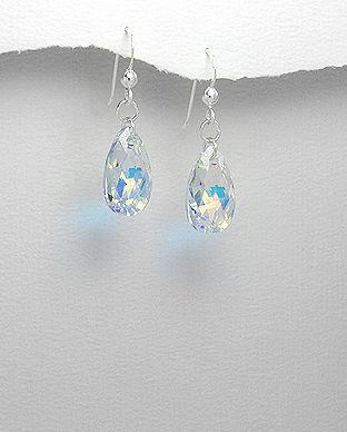 Cercei din argint cu cristal in forma de lacrima