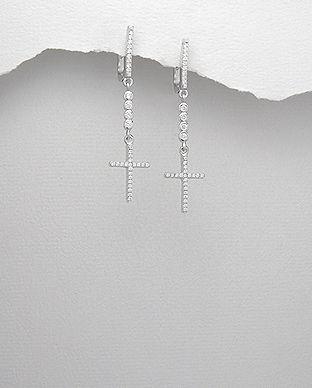 Cercei model cruciulita din argint cu pietre