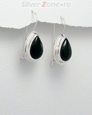 Cercei din argint cu agat negru