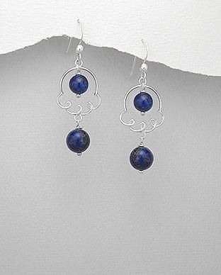 Cercei lungi din argint cu Lapis Lazuli