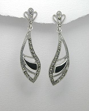 Cercei model aripioare din argint cu marcasite si email negru 11-1-i23169N
