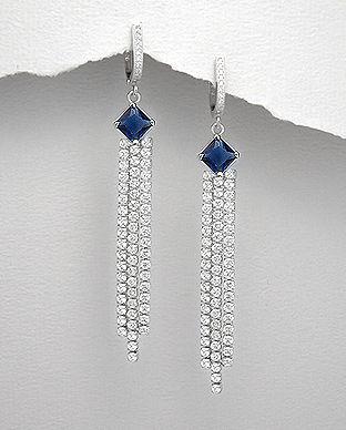 Cercei lungi din argint cu zirconia albastru si transparent