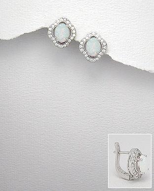 Cercei din argint cu opal alb si cubic zirconia
