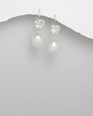 Cercei din argint cu perla alba de cultura si piatra