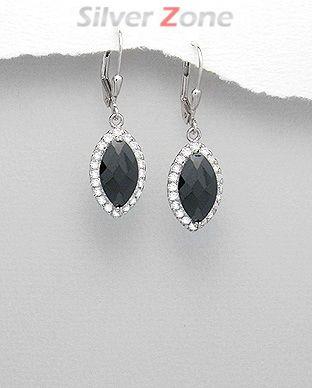 Cercei lungi din argint cu piatra neagra si imitatii de diamante