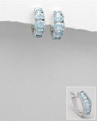 cercei cu pietre bleu