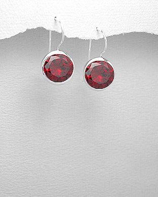 cercei cu piatra rosie
