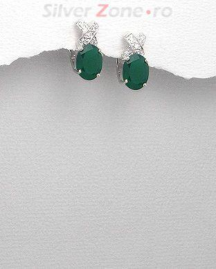 Cercei din argint cu agat verde si cubic zirconia