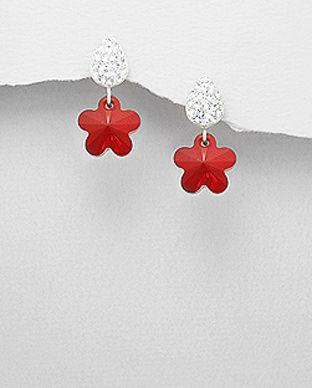 Cercei cu floare din cristal rosu si argint 11-1-i45898R