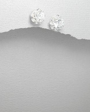 Cercei floricica din argint cu zirconia transparent