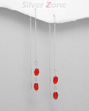 Cercei lungi din argint cu pietricele rosii