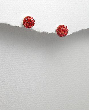 Cercei mici din argint cu cristal rosu