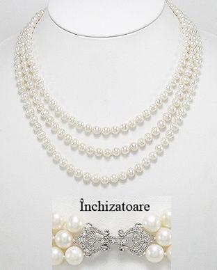 Colier format din 3 siraguri cu perle de cultura albe=