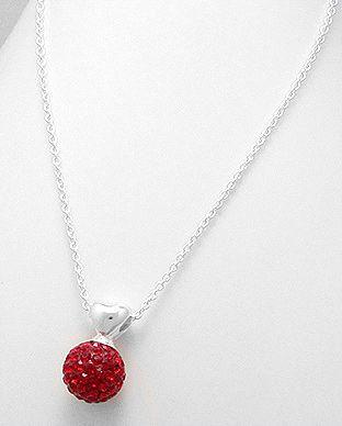 Colier din argint cu cristal rosu
