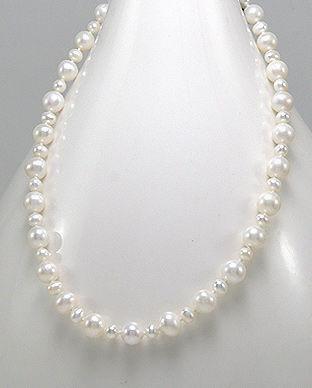 Colier cu perle de cultura albe si inchizatoare din argint=