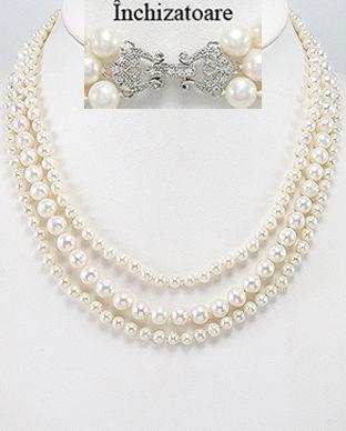 Colier din 3 siraguri cu perle de cultura cu inchizatoare din argint 14-1-i4536=