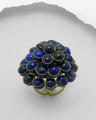 Inel ajustabil din alama cu Lapis Lazuli albastru