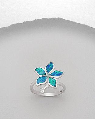 inel opal albastru floare