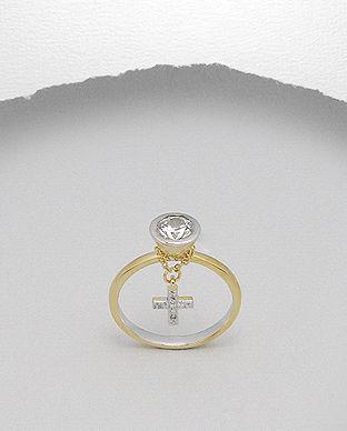 Inel din argint placat cu aur cu piatra si cruciulita