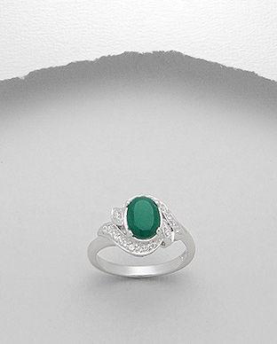 Inel din argint cu agat verde oval