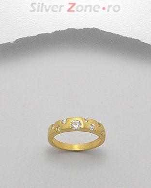 Inel din argint placat cu aur cu pietricele