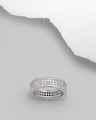 Inel Verigheta Din Argint 925 Cu Aspect De Aur Alb Cu Pietre 12 1