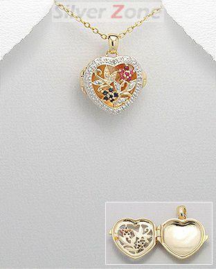 Pandantiv inima din argint placat cu aur cu floricele decupate