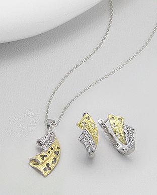 Set din argint placat cu aur: cercei si pandantiv