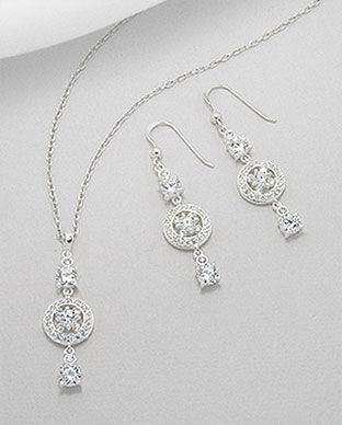 Set cu pietre albe din argint 925 cercei si pandantiv