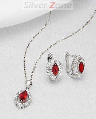 Set din argint cu aspect de aur alb cu zirconia rosu: cercei si pandantiv