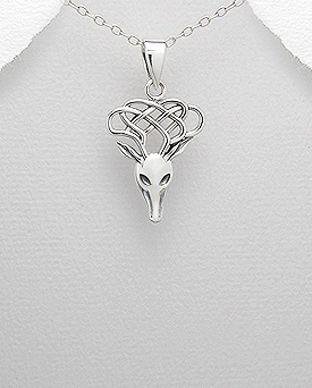 pandantiv cap de cerb din argint