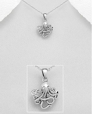 bijuterii din argint caracatita