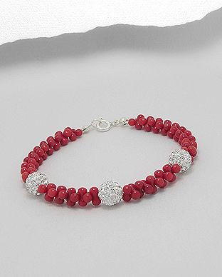 bratara coral rosu cristale