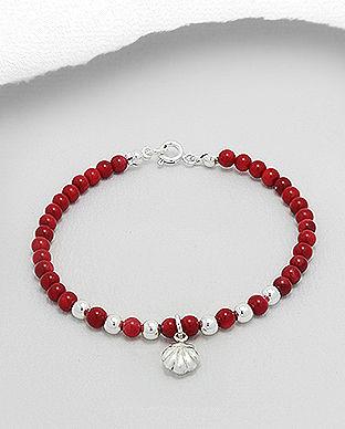 bijuterii din argint scoica bratara rosie