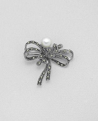 brosa din argint marcasite perle